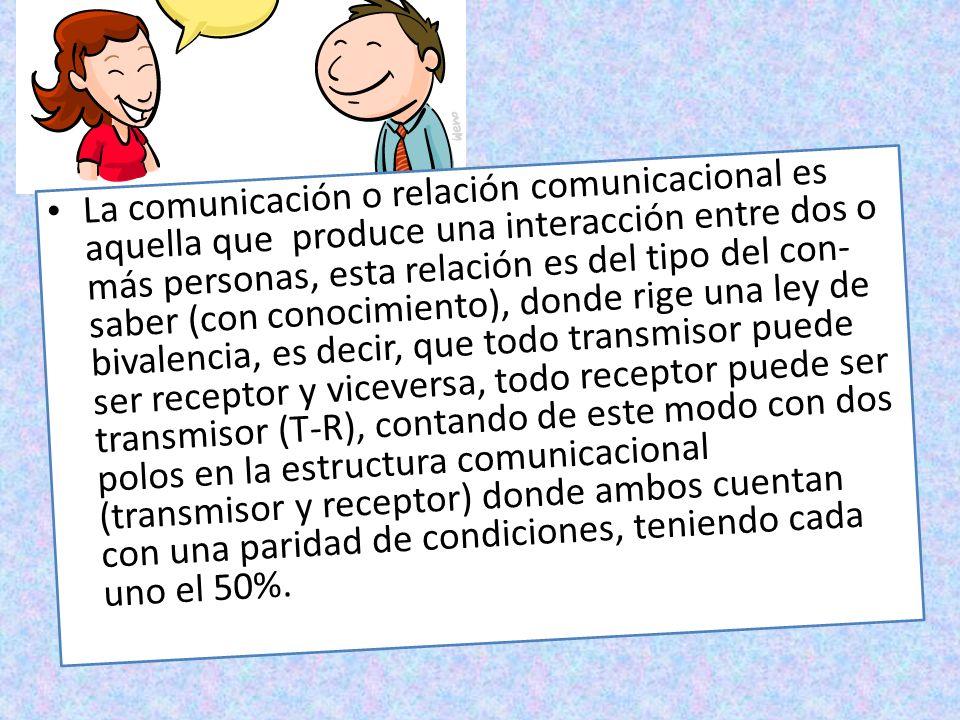 La comunicación o relación comunicacional es aquella que produce una interacción entre dos o más personas, esta relación es del tipo del con- saber (c