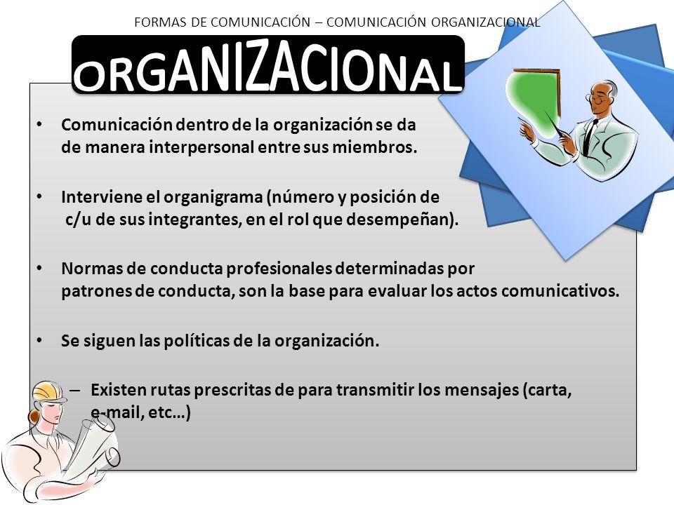 Comunicación dentro de la organización se da de manera interpersonal entre sus miembros. Interviene el organigrama (número y posición de c/u de sus in