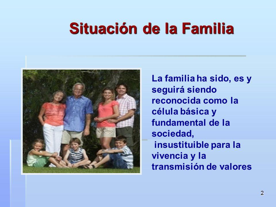 2 Situación de la Familia La familia ha sido, es y seguirá siendo reconocida como la célula básica y fundamental de la sociedad, insustituible para la vivencia y la transmisión de valores