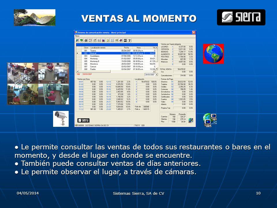 04/05/2014 Sistemas Sierra, SA de CV 10 VENTAS AL MOMENTO VENTAS AL MOMENTO Le permite consultar las ventas de todos sus restaurantes o bares en el mo