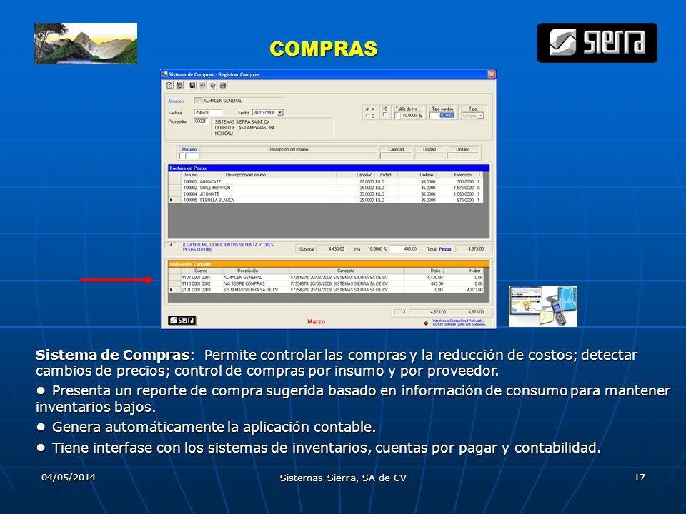 04/05/2014 Sistemas Sierra, SA de CV 17 COMPRAS COMPRAS Sistema de Compras: Permite controlar las compras y la reducción de costos; detectar cambios d