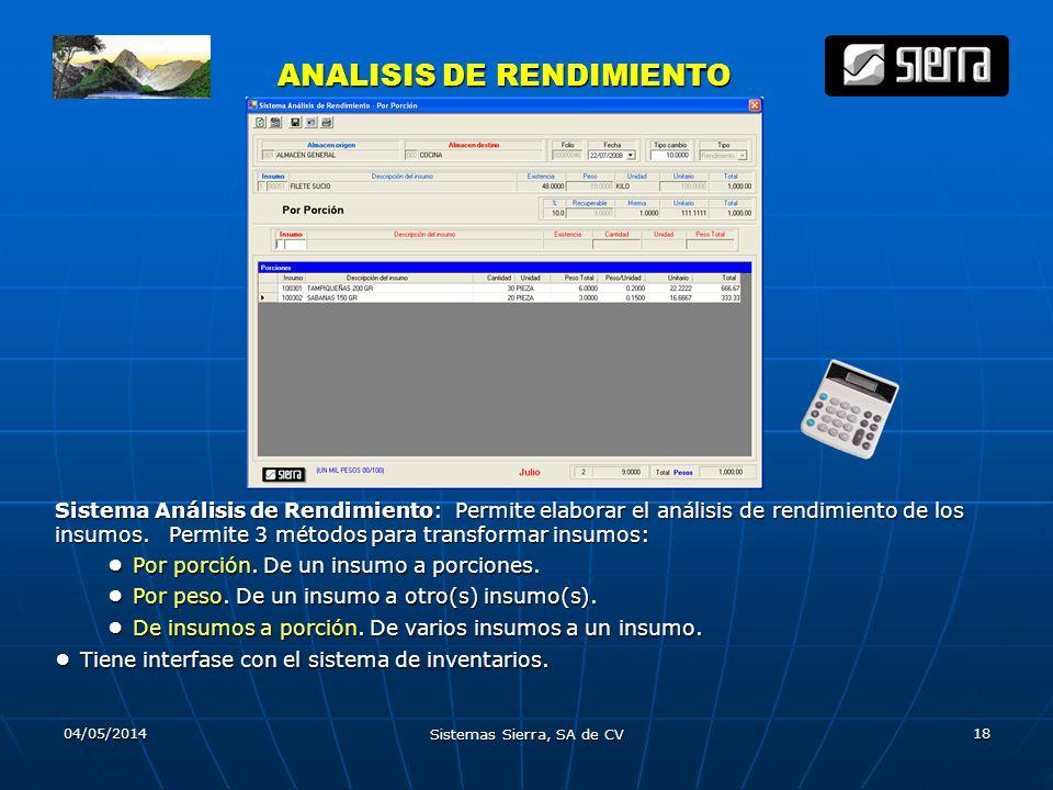 04/05/2014 Sistemas Sierra, SA de CV 18 ANALISIS DE RENDIMIENTO ANALISIS DE RENDIMIENTO Sistema Análisis de Rendimiento: Permite elaborar el análisis