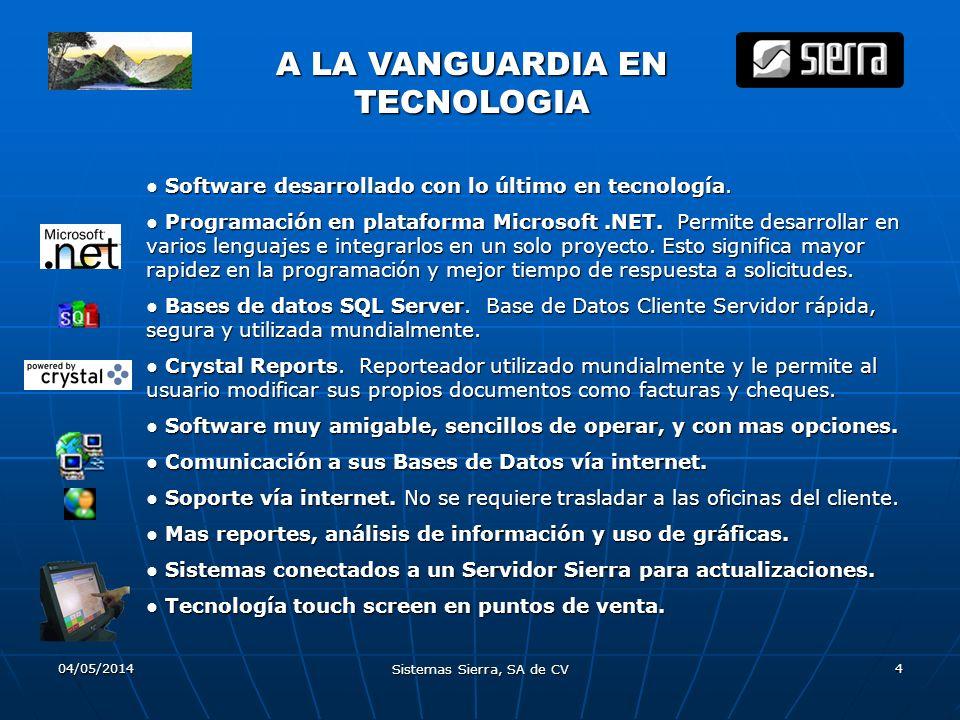04/05/2014 Sistemas Sierra, SA de CV 4 A LA VANGUARDIA EN TECNOLOGIA Software desarrollado con lo último en tecnología. Software desarrollado con lo ú