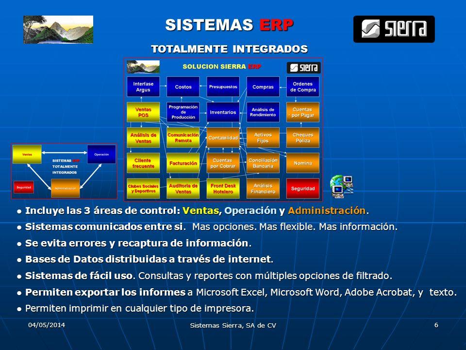 04/05/2014 Sistemas Sierra, SA de CV 6 SISTEMAS ERP TOTALMENTE INTEGRADOS Incluye las 3 áreas de control: Ventas, Operación y Administración. Sistemas