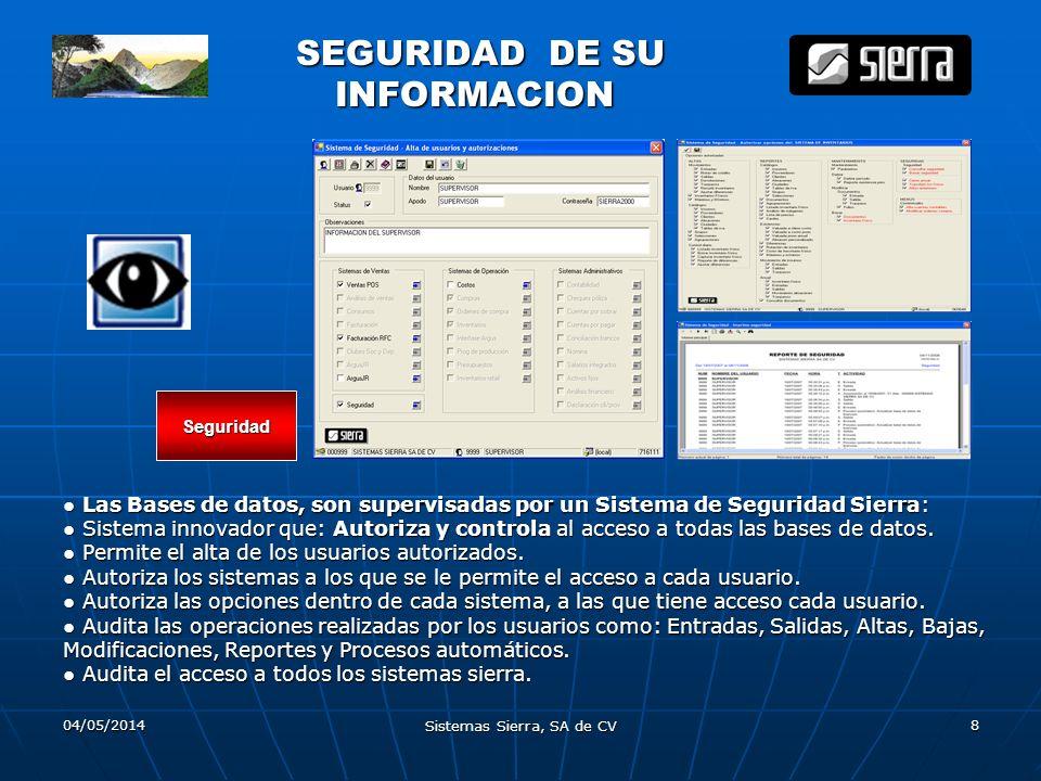 04/05/2014 Sistemas Sierra, SA de CV 8 SEGURIDAD DE SU SEGURIDAD DE SU INFORMACION INFORMACION Las Bases de datos, son supervisadas por un Sistema de
