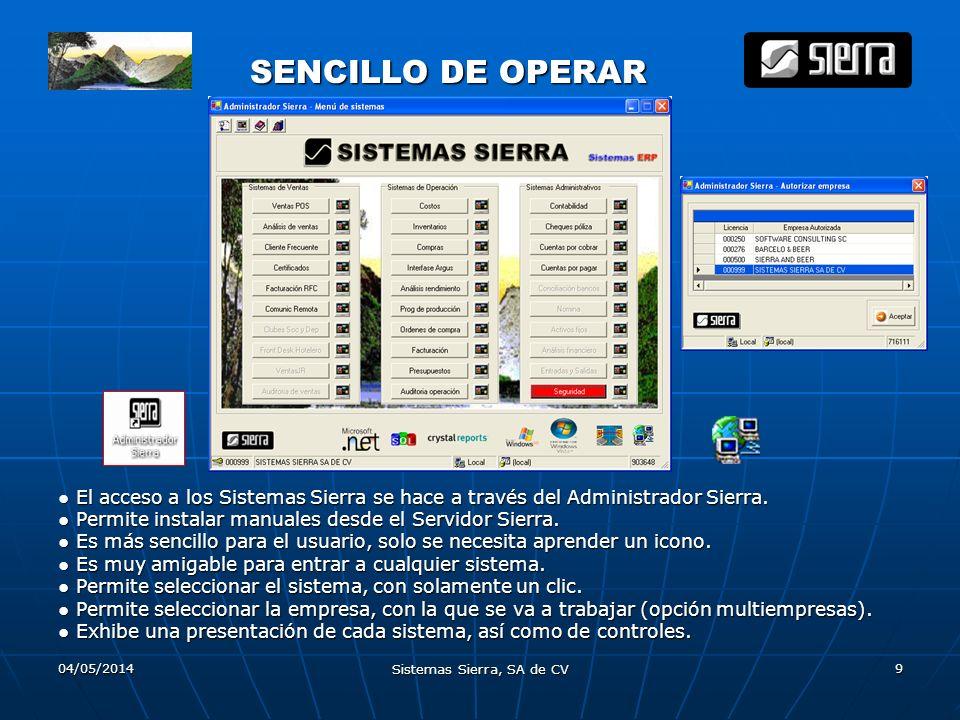 04/05/2014 Sistemas Sierra, SA de CV 9 SENCILLO DE OPERAR El acceso a los Sistemas Sierra se hace a través del Administrador Sierra. Permite instalar