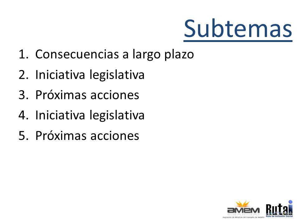 Subtemas 1.Consecuencias a largo plazo 2.Iniciativa legislativa 3.Próximas acciones 4.Iniciativa legislativa 5.Próximas acciones