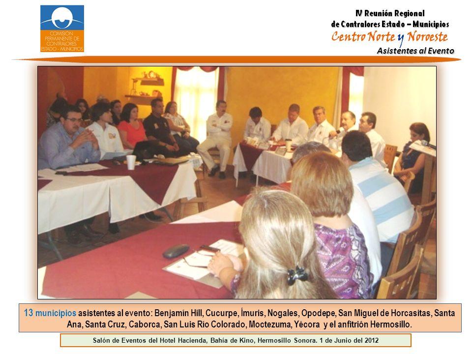 Asistentes al Evento 13 municipios asistentes al evento: Benjamín Hill, Cucurpe, Ímuris, Nogales, Opodepe, San Miguel de Horcasitas, Santa Ana, Santa