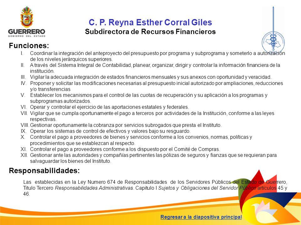 C. P. Reyna Esther Corral Giles Subdirectora de Recursos Financieros Funciones: Responsabilidades: Las establecidas en la Ley Numero 674 de Responsabi