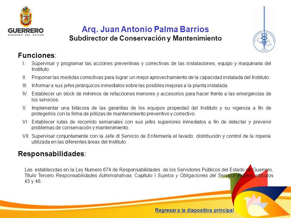 Arq. Juan Antonio Palma Barrios Subdirector de Conservación y Mantenimiento Funciones: Responsabilidades: Las establecidas en la Ley Numero 674 de Res