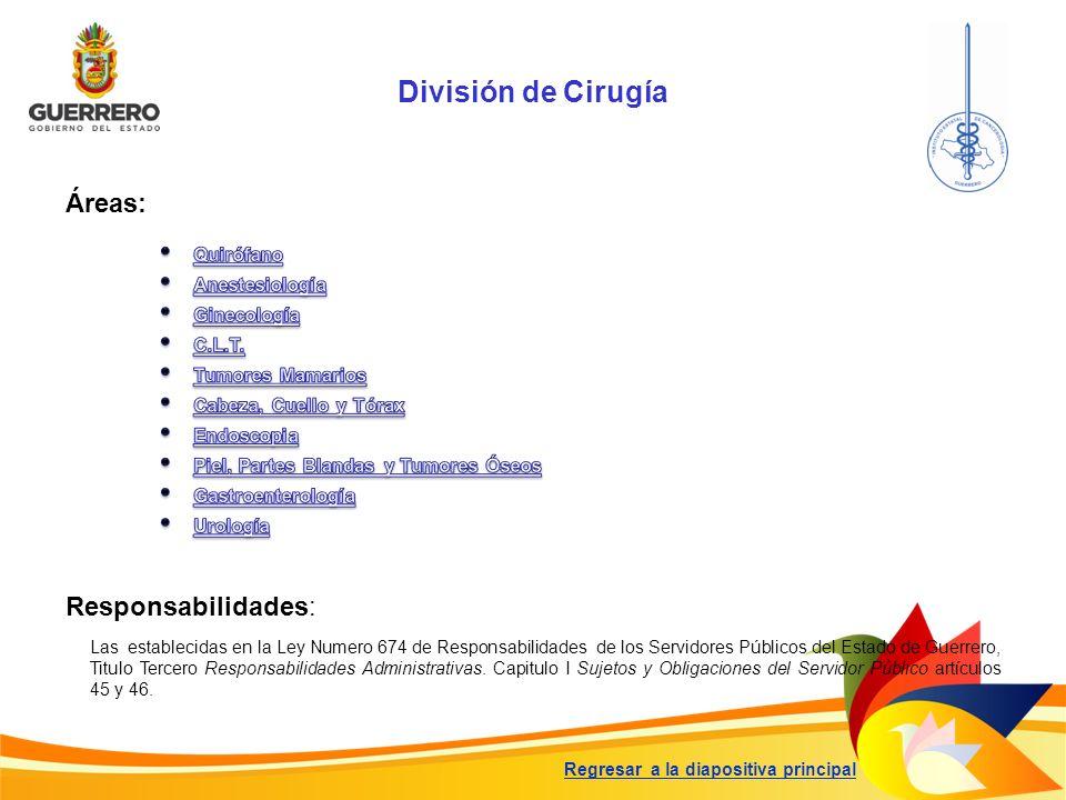 División de Cirugía Responsabilidades: Las establecidas en la Ley Numero 674 de Responsabilidades de los Servidores Públicos del Estado de Guerrero, T