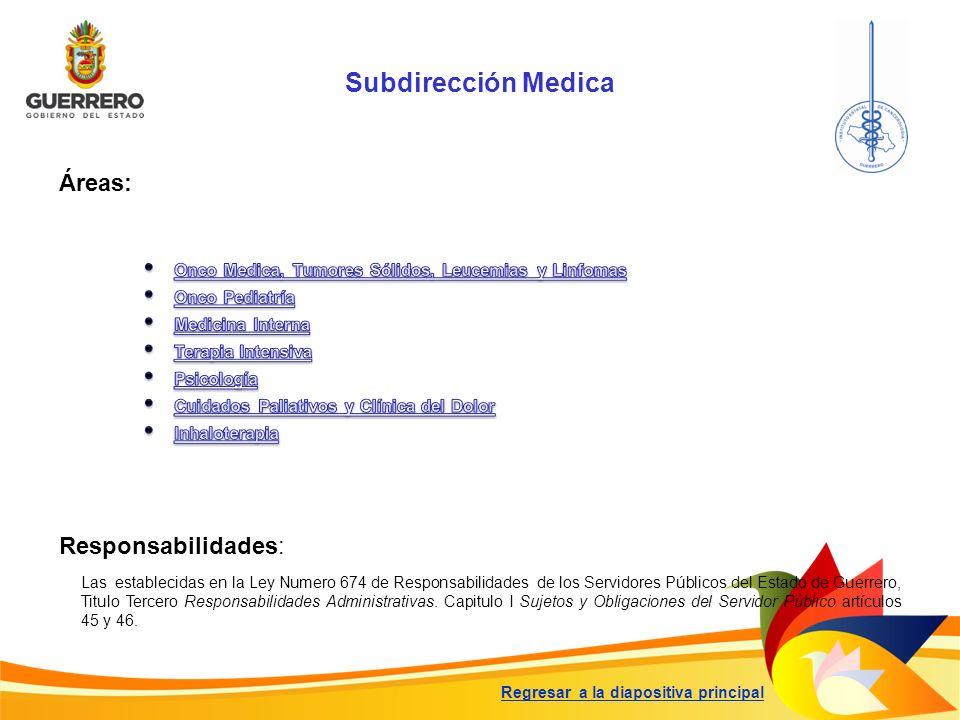 Subdirección Medica Responsabilidades: Las establecidas en la Ley Numero 674 de Responsabilidades de los Servidores Públicos del Estado de Guerrero, T