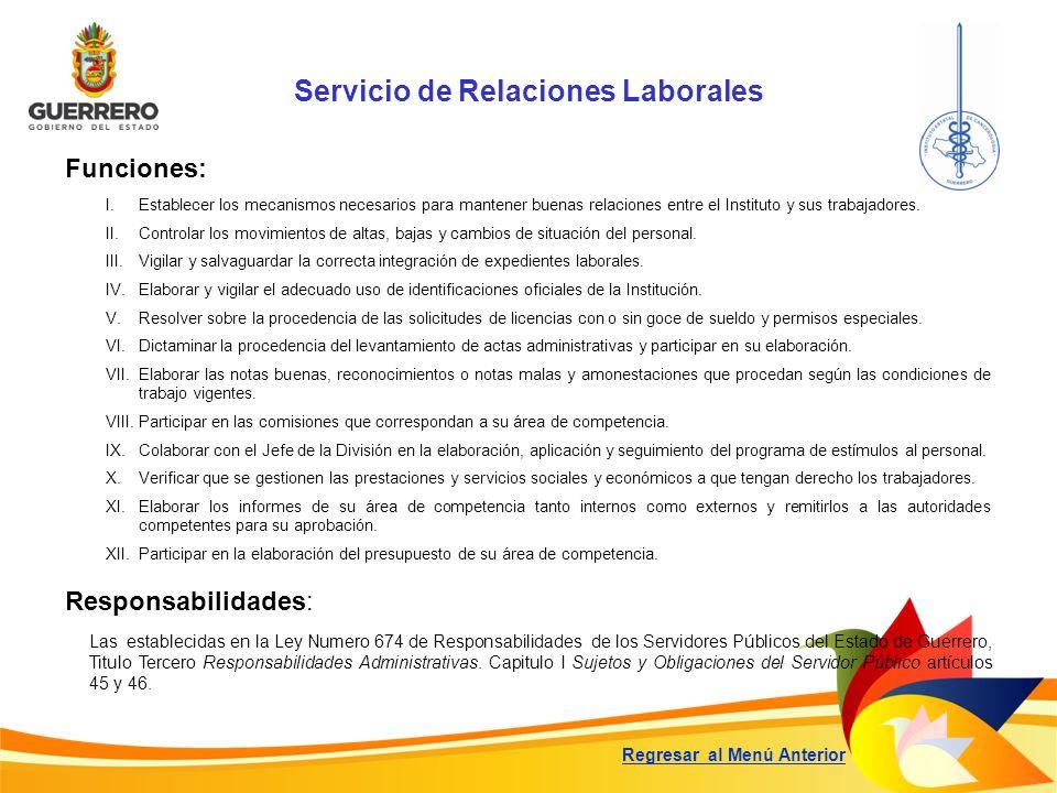 Servicio de Relaciones Laborales Funciones: Responsabilidades: Las establecidas en la Ley Numero 674 de Responsabilidades de los Servidores Públicos d