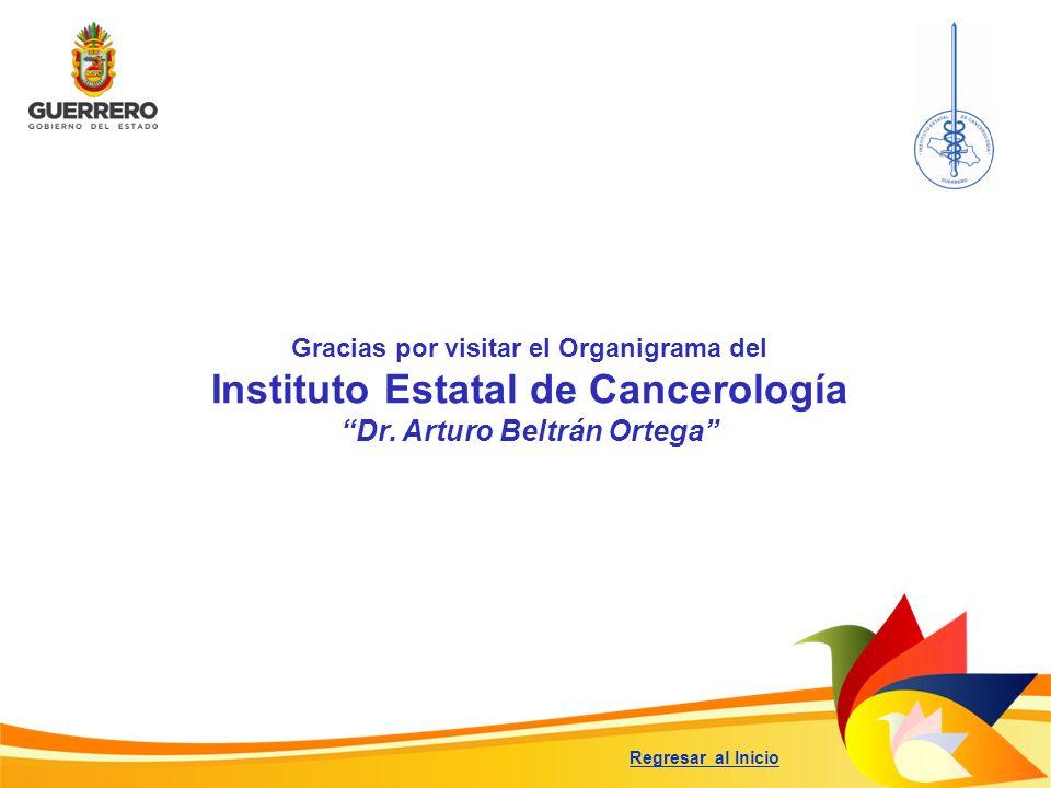 Gracias por visitar el Organigrama del Instituto Estatal de Cancerología Dr. Arturo Beltrán Ortega Regresar al Inicio