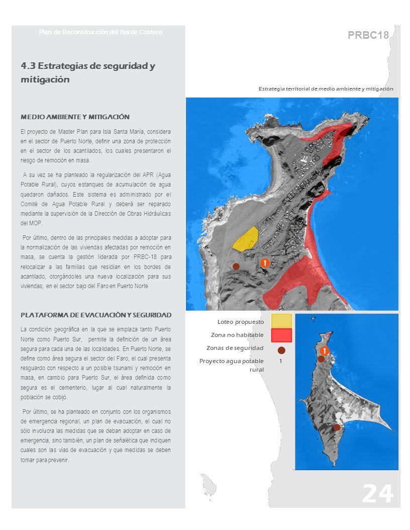 PRBC18 Plan de Reconstrucción del Borde Costero 4.3 Estrategias de seguridad y mitigación MEDIO AMBIENTE Y MITIGACIÓN El proyecto de Master Plan para