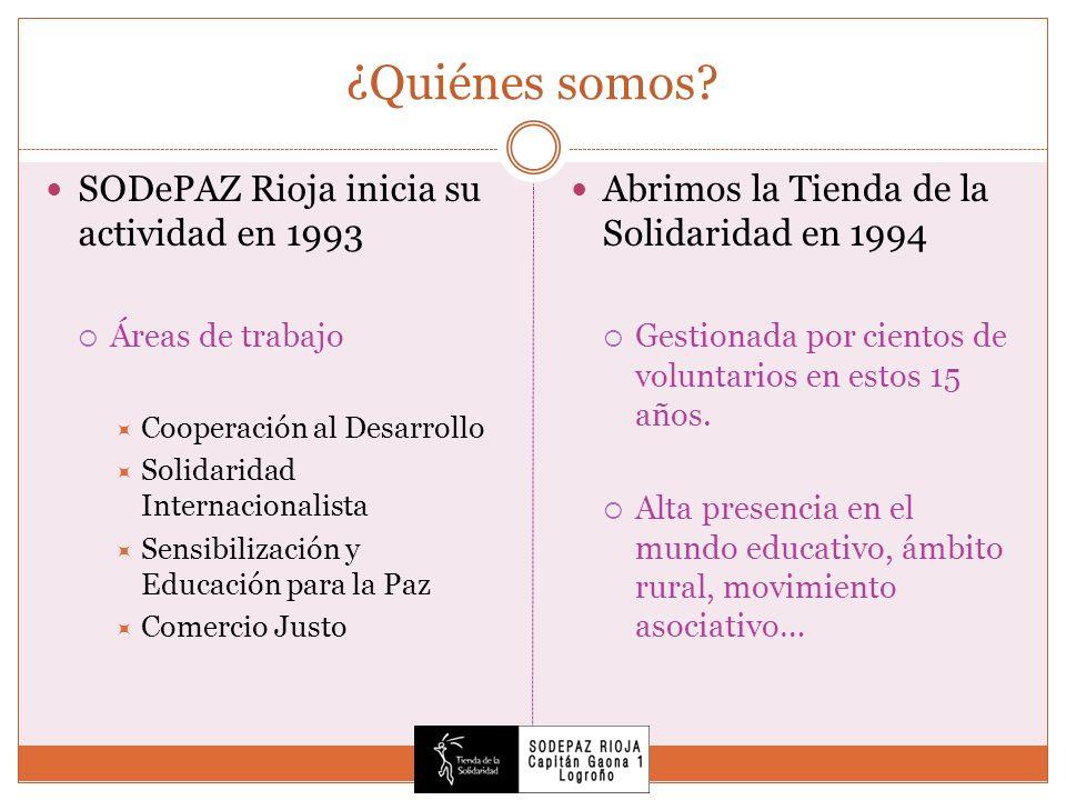 ¿Quiénes somos? SODePAZ Rioja inicia su actividad en 1993 Áreas de trabajo Cooperación al Desarrollo Solidaridad Internacionalista Sensibilización y E