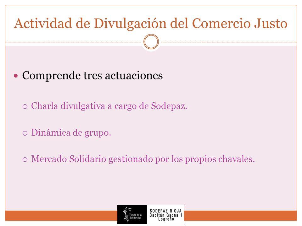 Actividad de Divulgación del Comercio Justo Comprende tres actuaciones Charla divulgativa a cargo de Sodepaz.