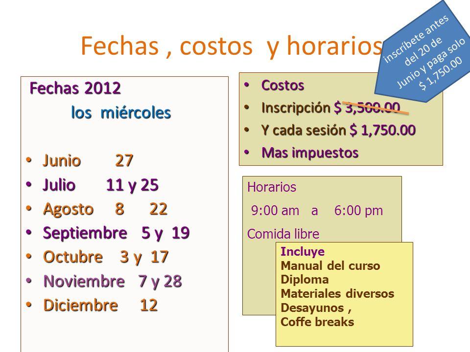 Fechas, costos y horarios Fechas 2012 Fechas 2012 los miércoles los miércoles Junio 27 Junio 27 Julio 11 y 25 Julio 11 y 25 Agosto 8 22 Agosto 8 22 Se