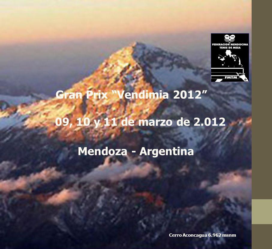 Gran Prix Vendimia 2012 09, 10 y 11 de marzo de 2.012 Mendoza - Argentina Cerro Aconcagua 6.962 msnm