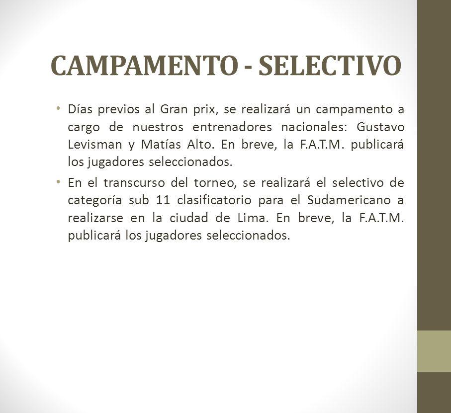 CAMPAMENTO - SELECTIVO Días previos al Gran prix, se realizará un campamento a cargo de nuestros entrenadores nacionales: Gustavo Levisman y Matías Al