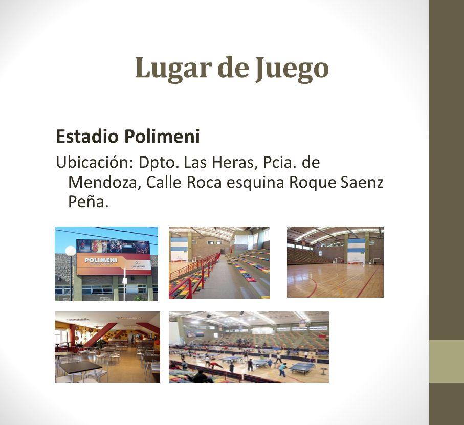 Lugar de Juego Estadio Polimeni Ubicación: Dpto. Las Heras, Pcia. de Mendoza, Calle Roca esquina Roque Saenz Peña.