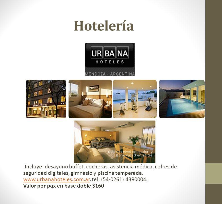 Hotelería Incluye: desayuno buffet, cocheras, asistencia médica, cofres de seguridad digitales, gimnasio y piscina temperada. www.urbanahoteles.com.ar
