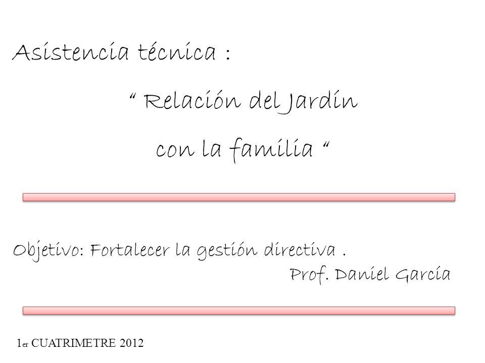 Asistencia técnica : Relación del Jardín con la familia Objetivo: Fortalecer la gestión directiva. Prof. Daniel García 1 er CUATRIMETRE 2012