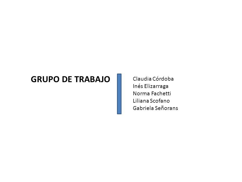 GRUPO DE TRABAJO Claudia Córdoba Inés Elizarraga Norma Fachetti Liliana Scofano Gabriela Señorans