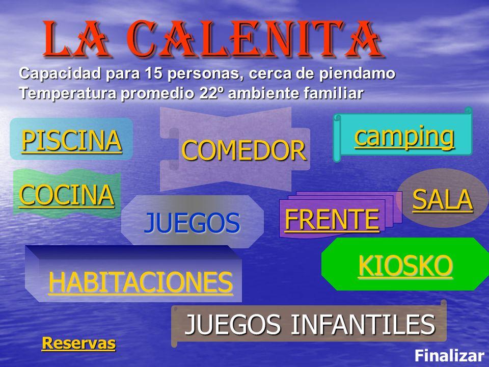 PISCINA JUEGOS SALA COMEDOR HABITACIONES JUEGOS INFANTILES JUEGOS INFANTILES FRENTE COCINA LA calenita Finalizar Reservas Capacidad para 15 personas,