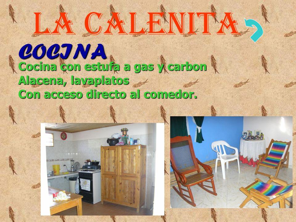 COCINA Cocina con estufa a gas y carbon Alacena, lavaplatos Con acceso directo al comedor.