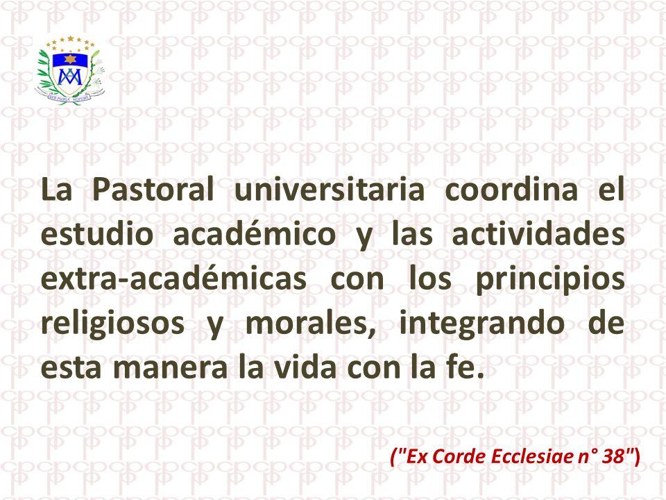 La Pastoral universitaria coordina el estudio académico y las actividades extra-académicas con los principios religiosos y morales, integrando de esta