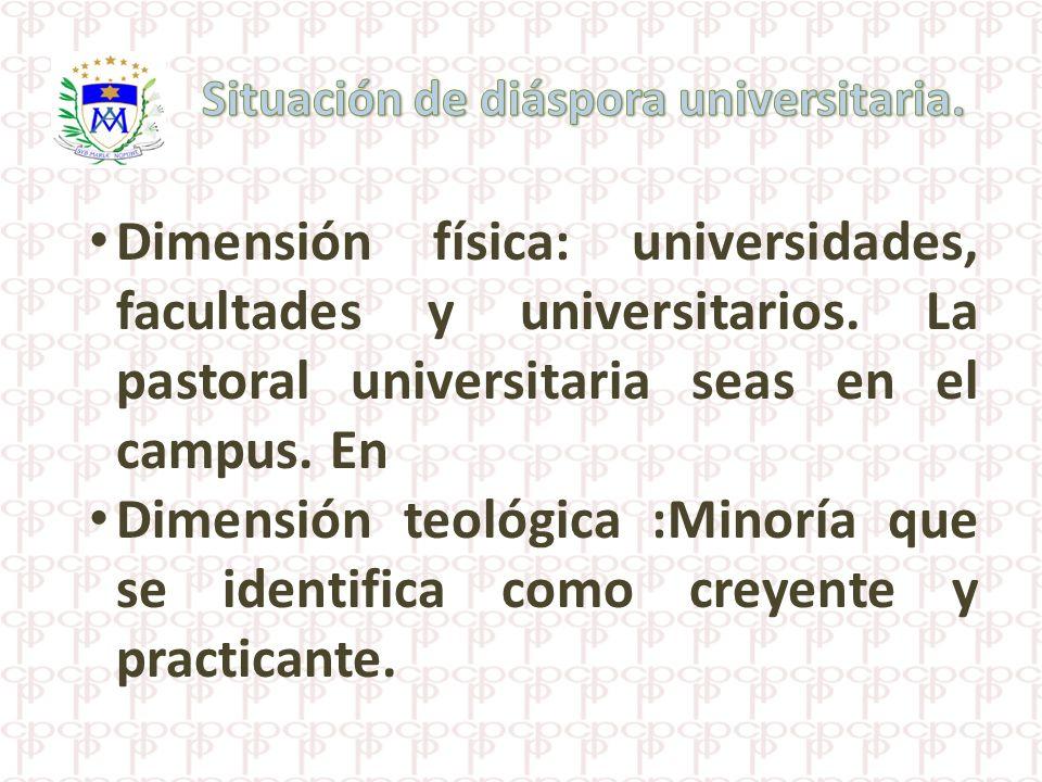 Dimensión física: universidades, facultades y universitarios. La pastoral universitaria seas en el campus. En Dimensión teológica :Minoría que se iden
