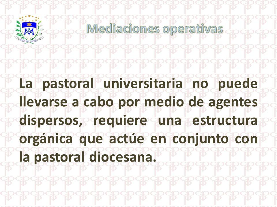 La pastoral universitaria no puede llevarse a cabo por medio de agentes dispersos, requiere una estructura orgánica que actúe en conjunto con la pasto