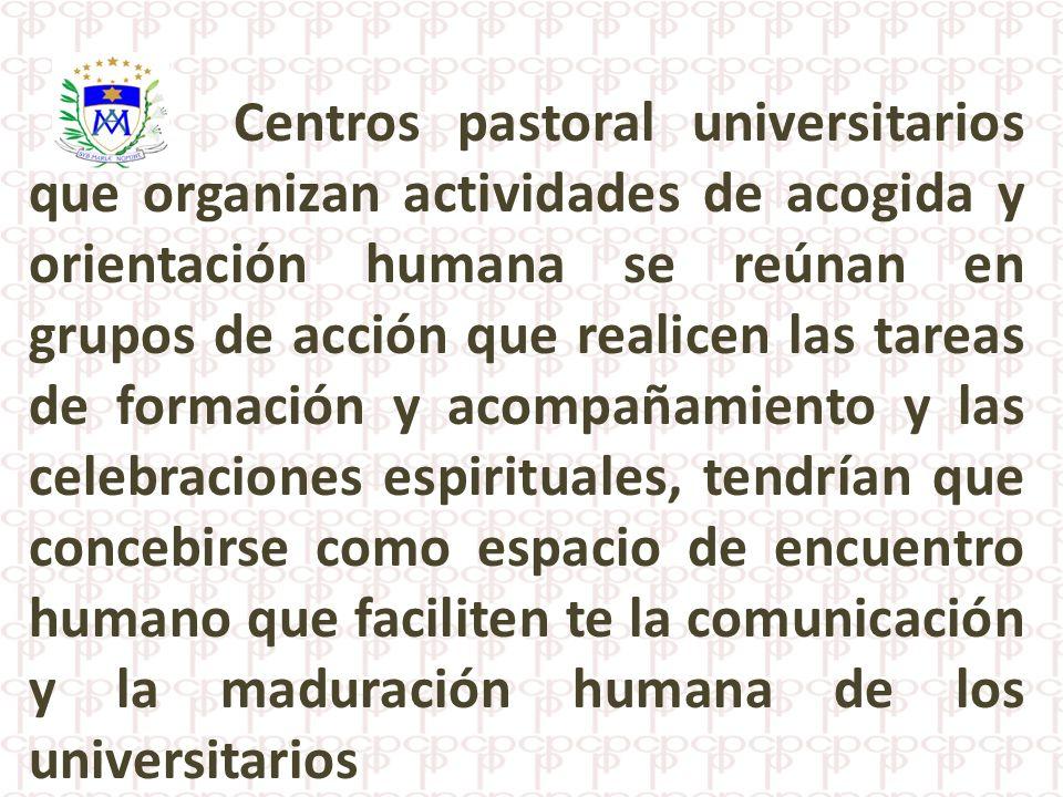 Centros pastoral universitarios que organizan actividades de acogida y orientación humana se reúnan en grupos de acción que realicen las tareas de for