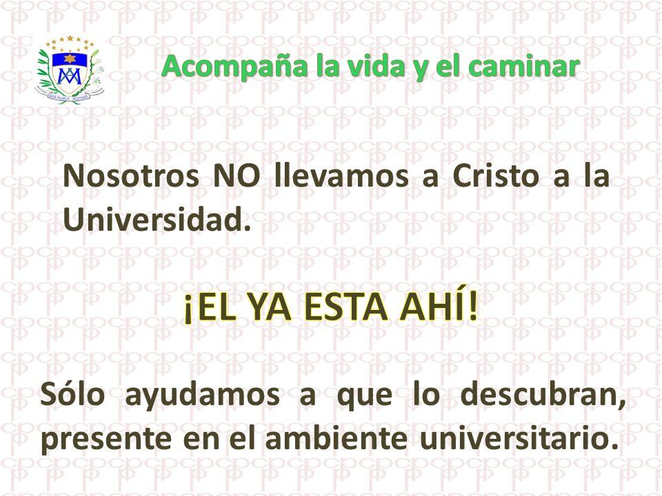 Nosotros NO llevamos a Cristo a la Universidad. Sólo ayudamos a que lo descubran, presente en el ambiente universitario.