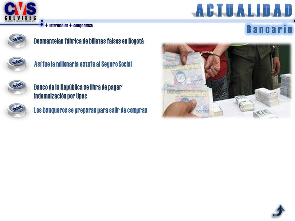 Desmantelan fábrica de billetes falsos en Bogotá Así fue la millonaria estafa al Seguro Social Banco de la República se libra de pagar indemnización por Upac Los banqueros se preparan para salir de compras