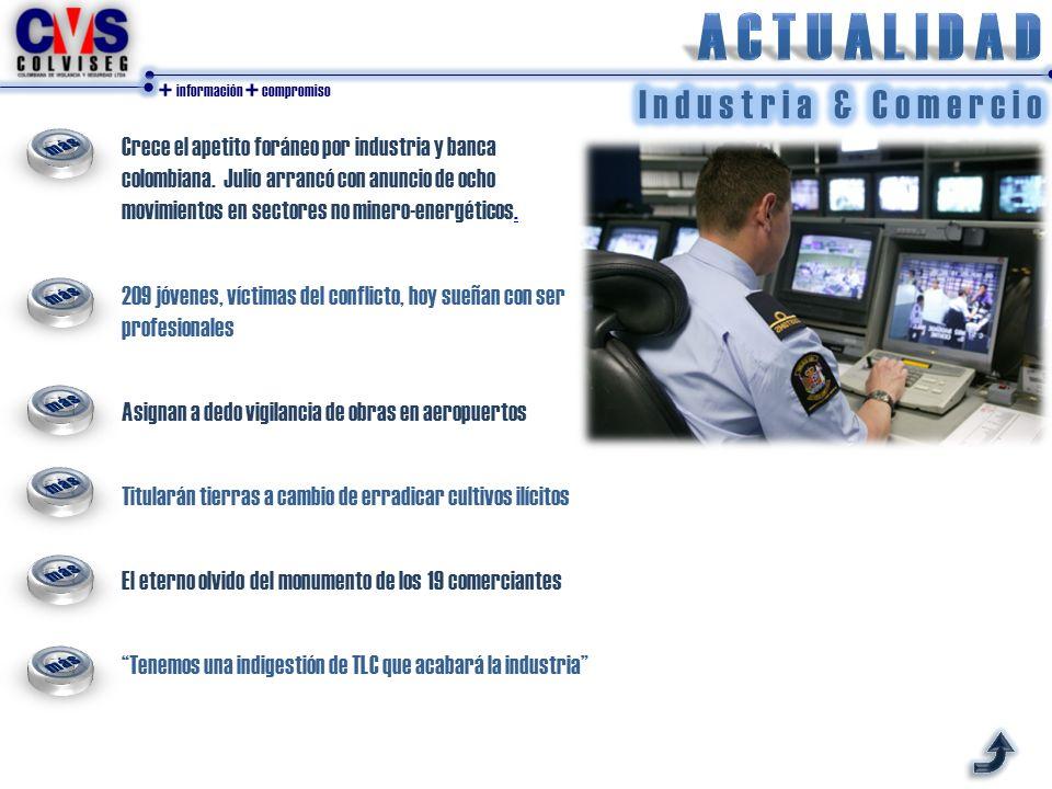 + información + compromiso Crece el apetito foráneo por industria y banca colombiana.
