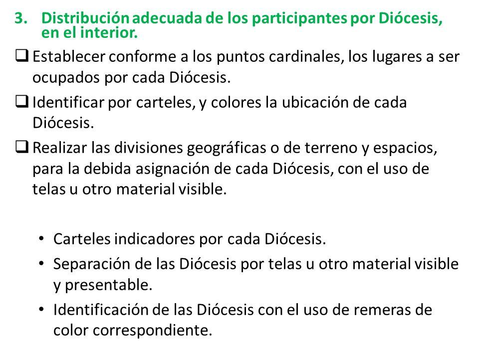 3.Distribución adecuada de los participantes por Diócesis, en el interior.