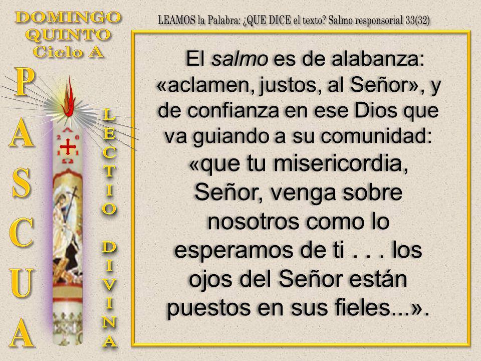 El salmo es de alabanza: «aclamen, justos, al Señor», y de confianza en ese Dios que va guiando a su comunidad: « que tu misericordia, Señor, venga so