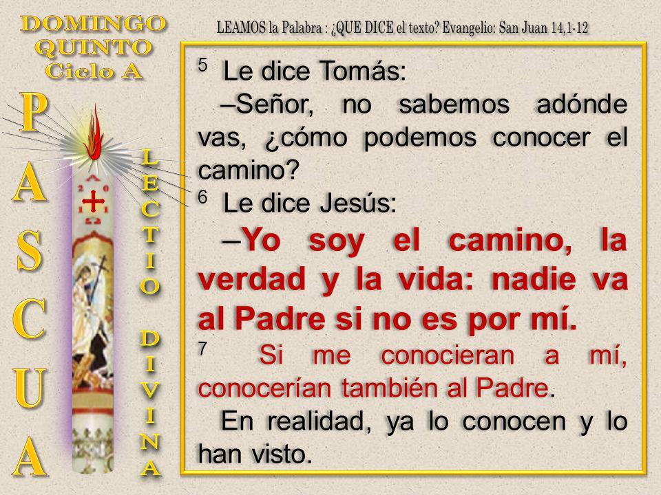 5 Le dice Tomás: –Señor, no sabemos adónde vas, ¿cómo podemos conocer el camino? 6 Le dice Jesús: –Yo soy el camino, la verdad y la vida: nadie va al