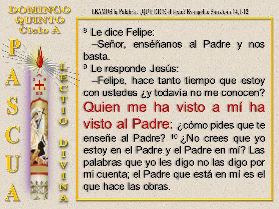 8 Le dice Felipe: –Señor, enséñanos al Padre y nos basta. 9 Le responde Jesús: –Felipe, hace tanto tiempo que estoy con ustedes ¿y todavía no me conoc
