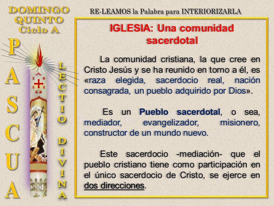 IGLESIA: Una comunidad sacerdotal La comunidad cristiana, la que cree en Cristo Jesús y se ha reunido en torno a él, es «raza elegida, sacerdocio real