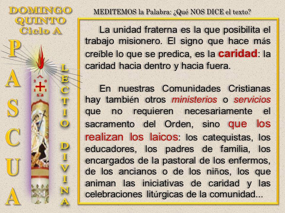 La unidad fraterna es la que posibilita el trabajo misionero. El signo que hace m á s cre í ble lo que se predica, es la caridad : la caridad hacia de