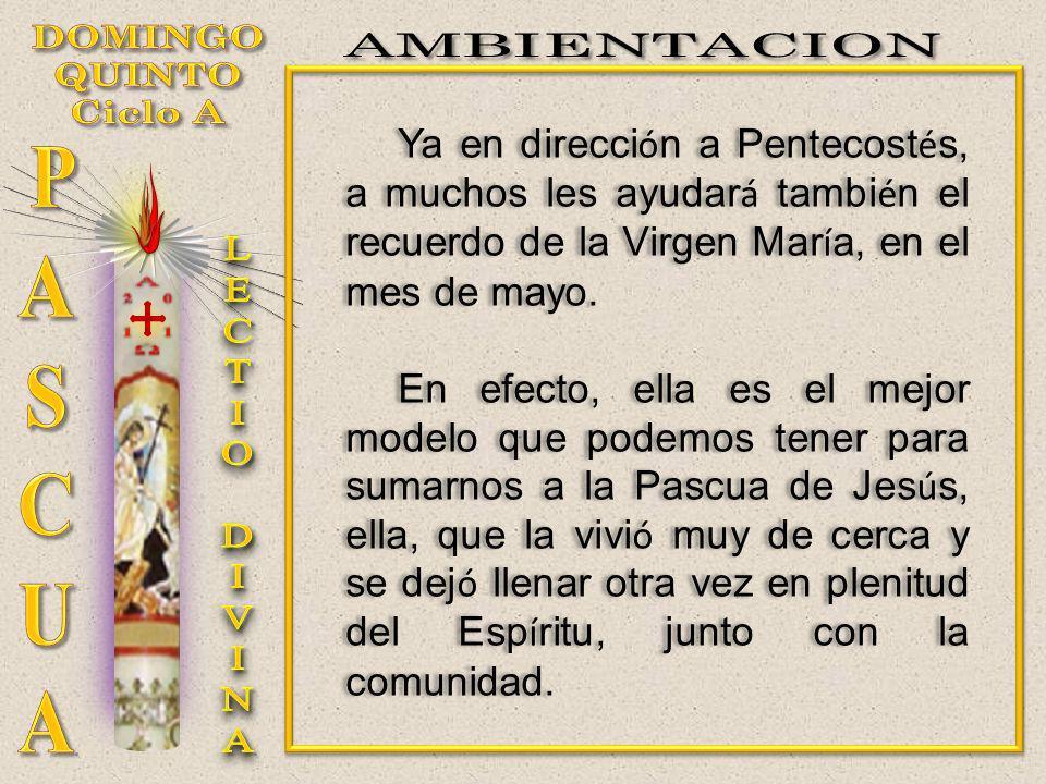 Ya en direcci ó n a Pentecost é s, a muchos les ayudar á tambi é n el recuerdo de la Virgen Mar í a, en el mes de mayo. En efecto, ella es el mejor mo