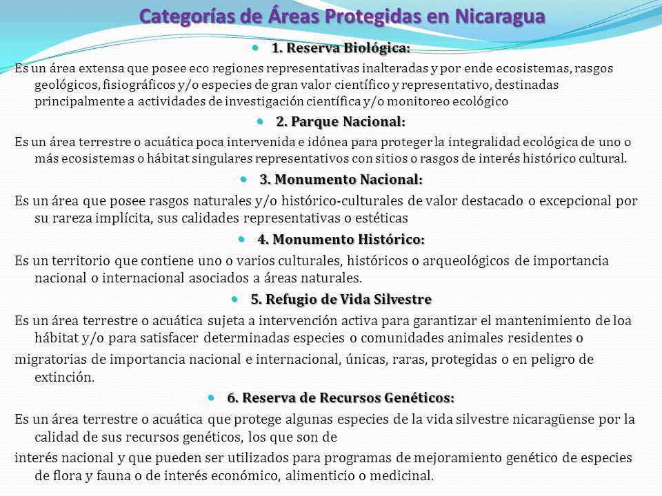 Categorías de Áreas Protegidas en Nicaragua 1. Reserva Biológica: 1. Reserva Biológica: Es un área extensa que posee eco regiones representativas inal