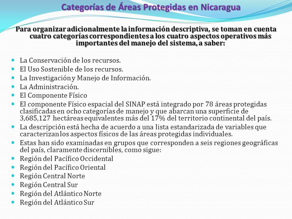 Categorías de Áreas Protegidas en Nicaragua Para organizar adicionalmente la información descriptiva, se toman en cuenta cuatro categorías correspondi