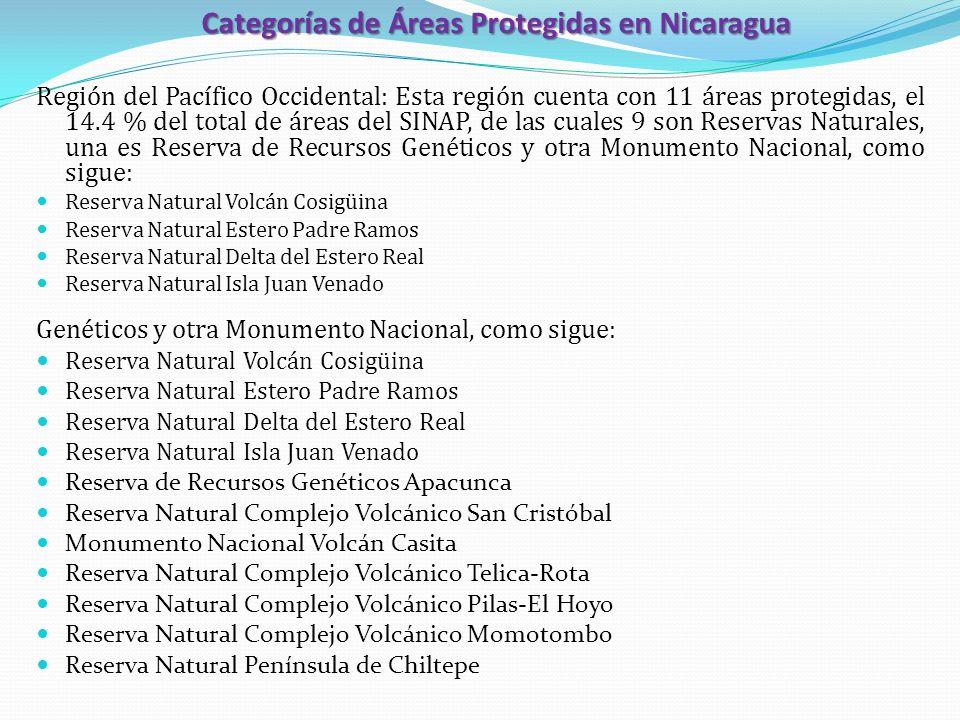 Categorías de Áreas Protegidas en Nicaragua Región del Pacífico Occidental: Esta región cuenta con 11 áreas protegidas, el 14.4 % del total de áreas d