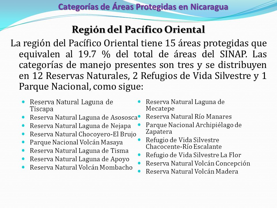 Categorías de Áreas Protegidas en Nicaragua Región del Pacífico Oriental La región del Pacífico Oriental tiene 15 áreas protegidas que equivalen al 19