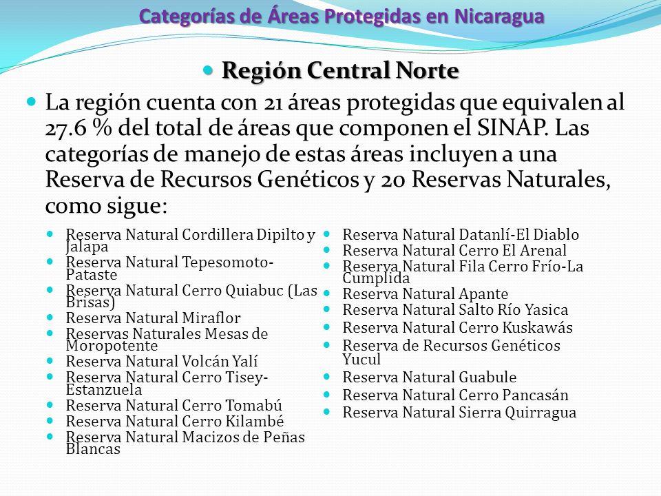 Categorías de Áreas Protegidas en Nicaragua Región Central Norte Región Central Norte La región cuenta con 21 áreas protegidas que equivalen al 27.6 %