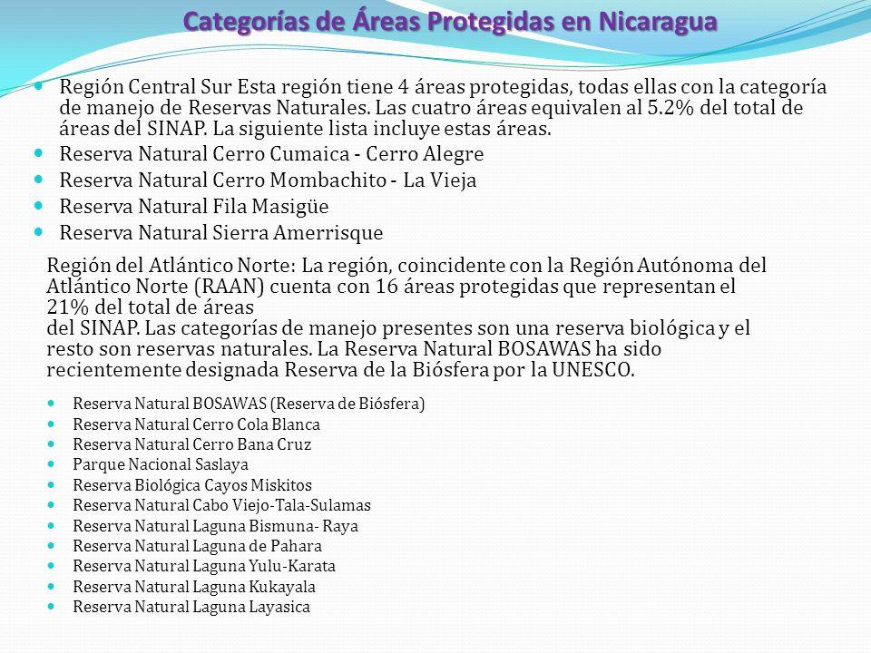 Categorías de Áreas Protegidas en Nicaragua Región Central Sur Esta región tiene 4 áreas protegidas, todas ellas con la categoría de manejo de Reserva